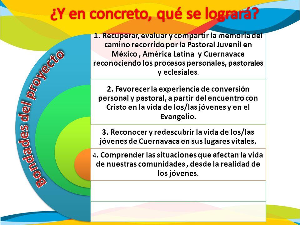 1. Recuperar, evaluar y compartir la memoria del camino recorrido por la Pastoral Juvenil en México, América Latina y Cuernavaca reconociendo los proc