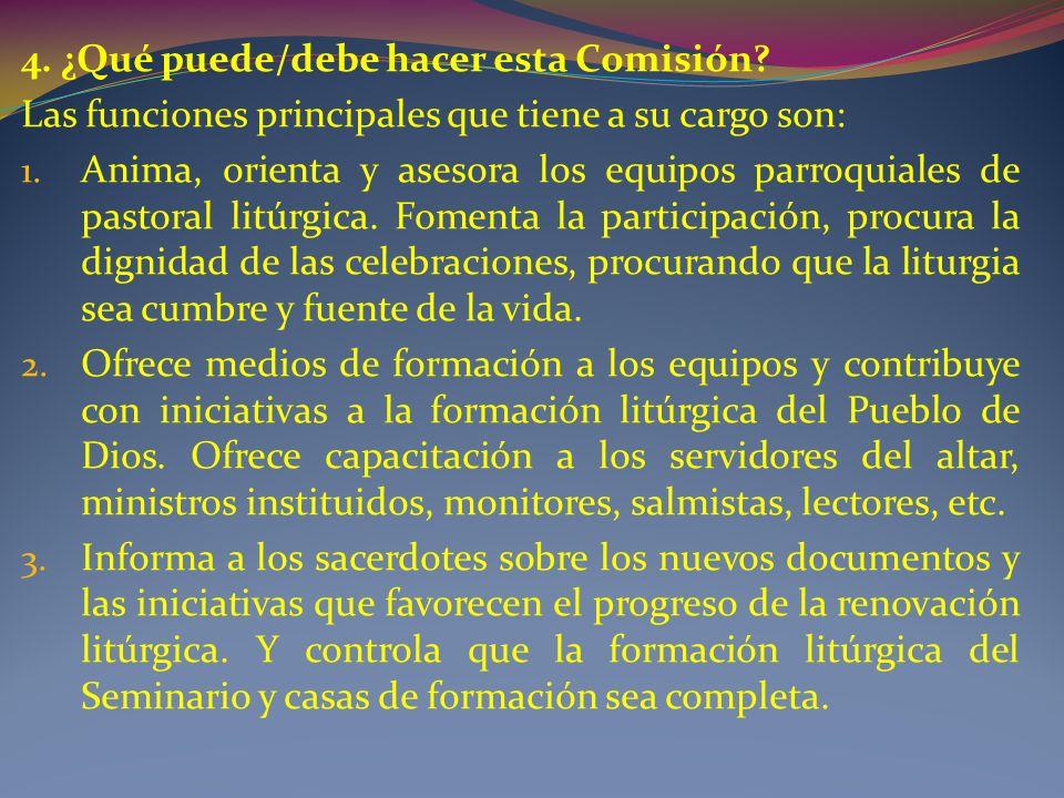 4.¿Qué puede/debe hacer esta Comisión. Las funciones principales que tiene a su cargo son: 1.