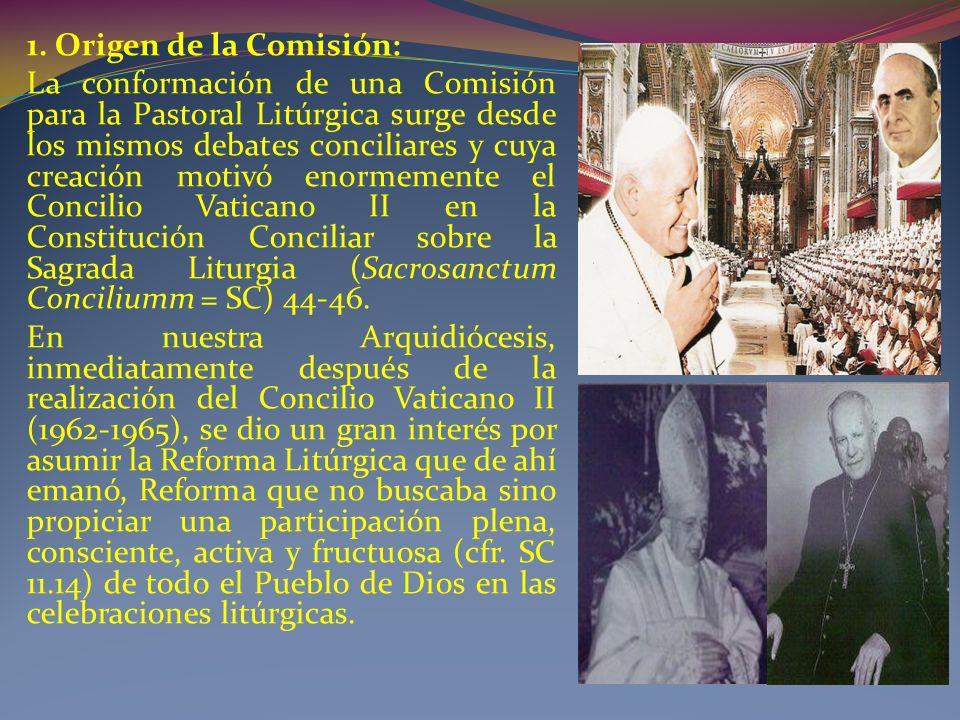 1. Origen de la Comisión: La conformación de una Comisión para la Pastoral Litúrgica surge desde los mismos debates conciliares y cuya creación motivó