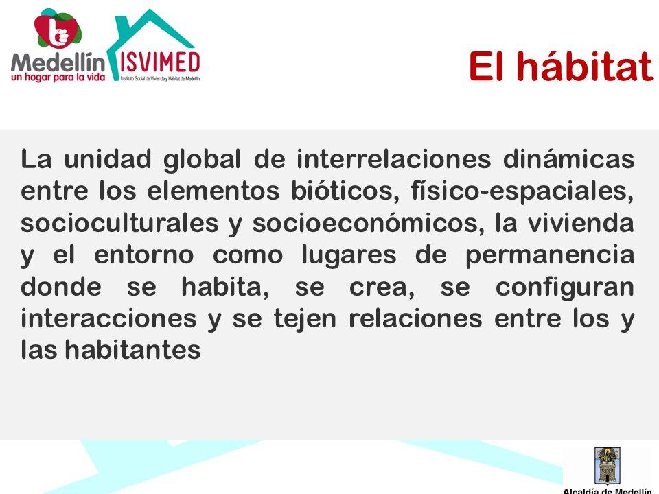 El hábitat La unidad global de interrelaciones dinámicas entre los elementos bióticos, físico-espaciales, socioculturales y socioeconómicos, la vivien