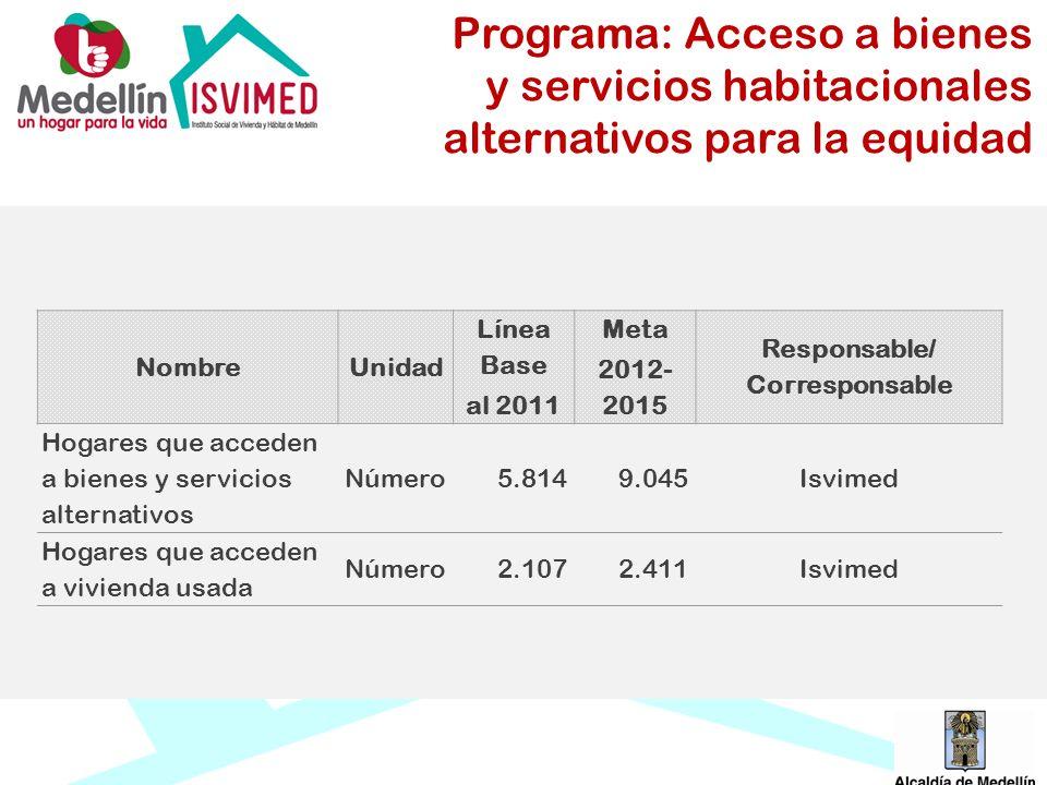 Programa: Acceso a bienes y servicios habitacionales alternativos para la equidad NombreUnidad Línea Base al 2011 Meta 2012- 2015 Responsable/ Corresp