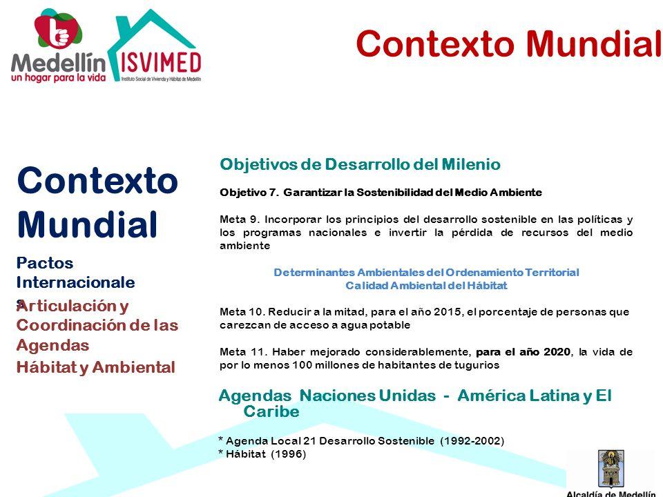 Agendas Naciones Unidas - América Latina y El Caribe * Agenda Local 21 Desarrollo Sostenible (1992-2002) * Hábitat (1996) Contexto Mundial Pactos Inte