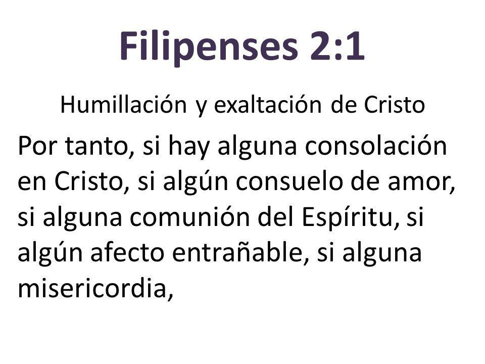 Filipenses 2:1 Humillación y exaltación de Cristo Por tanto, si hay alguna consolación en Cristo, si algún consuelo de amor, si alguna comunión del Es