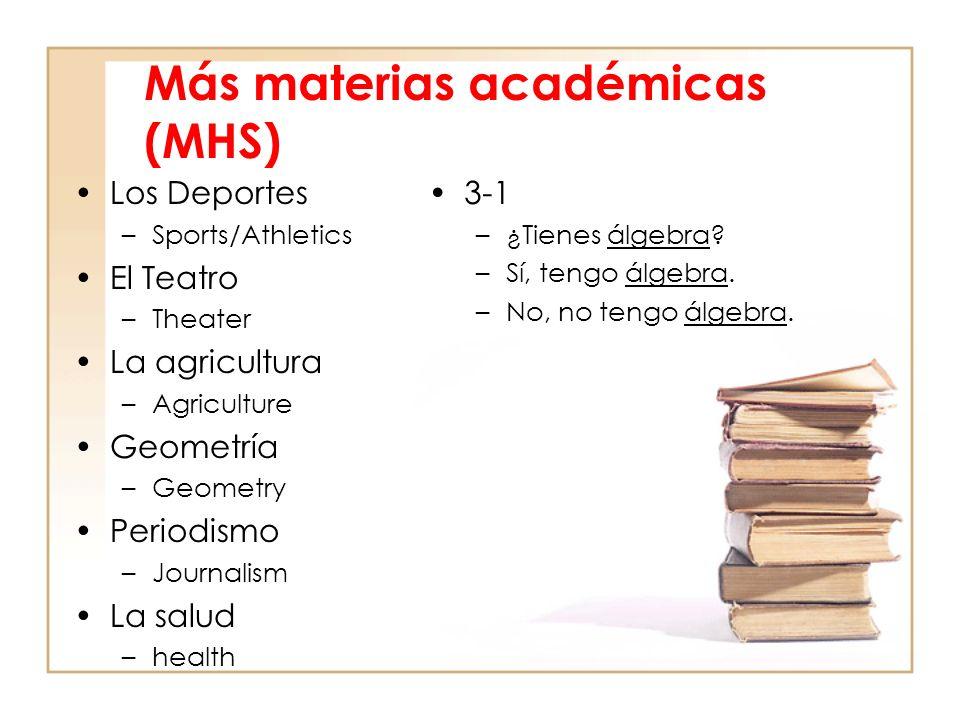 Más materias académicas (MHS) Los Deportes –Sports/Athletics El Teatro –Theater La agricultura –Agriculture Geometría –Geometry Periodismo –Journalism