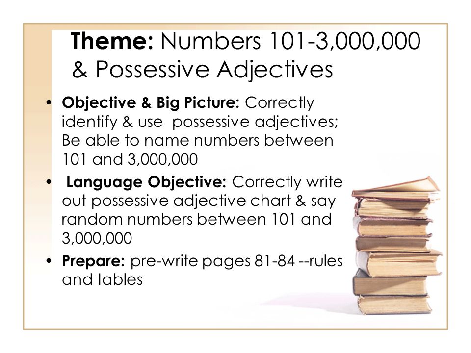 Theme: Numbers 101-3,000,000 & Possessive Adjectives Objective & Big Picture: Correctly identify & use possessive adjectives; Be able to name numbers