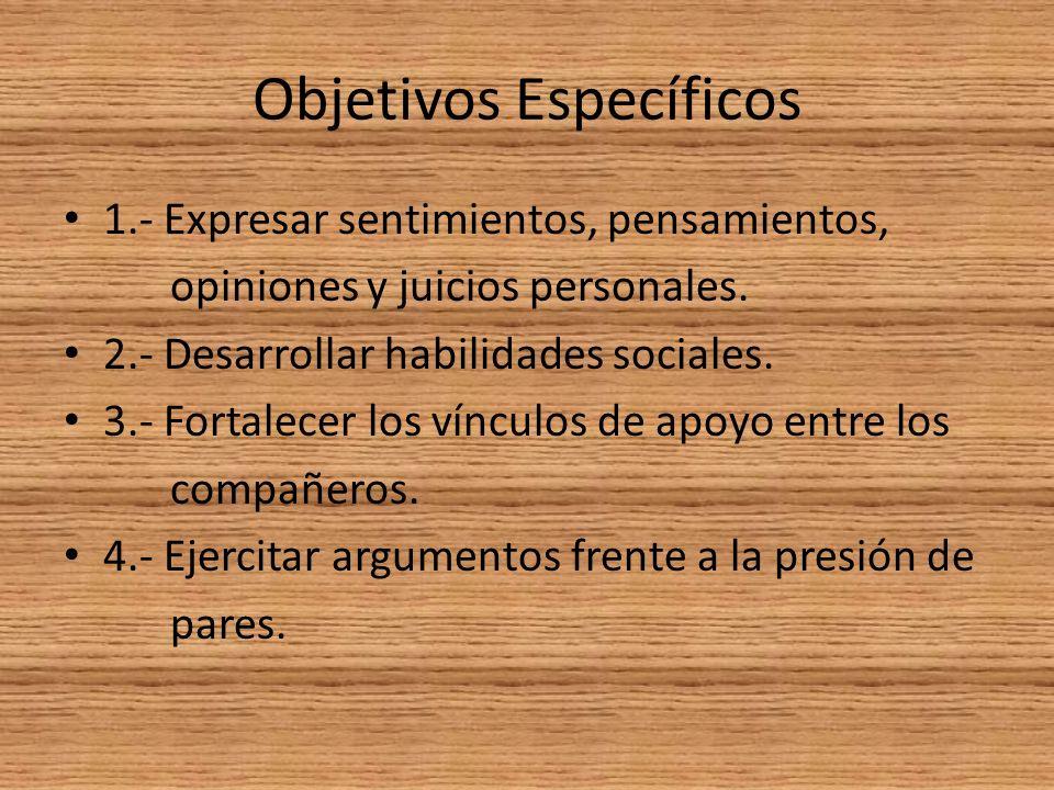 Objetivos Específicos 1.- Expresar sentimientos, pensamientos, opiniones y juicios personales.
