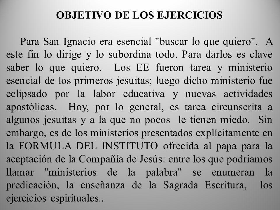 OBJETIVO DE LOS EJERCICIOS Para San Ignacio era esencial