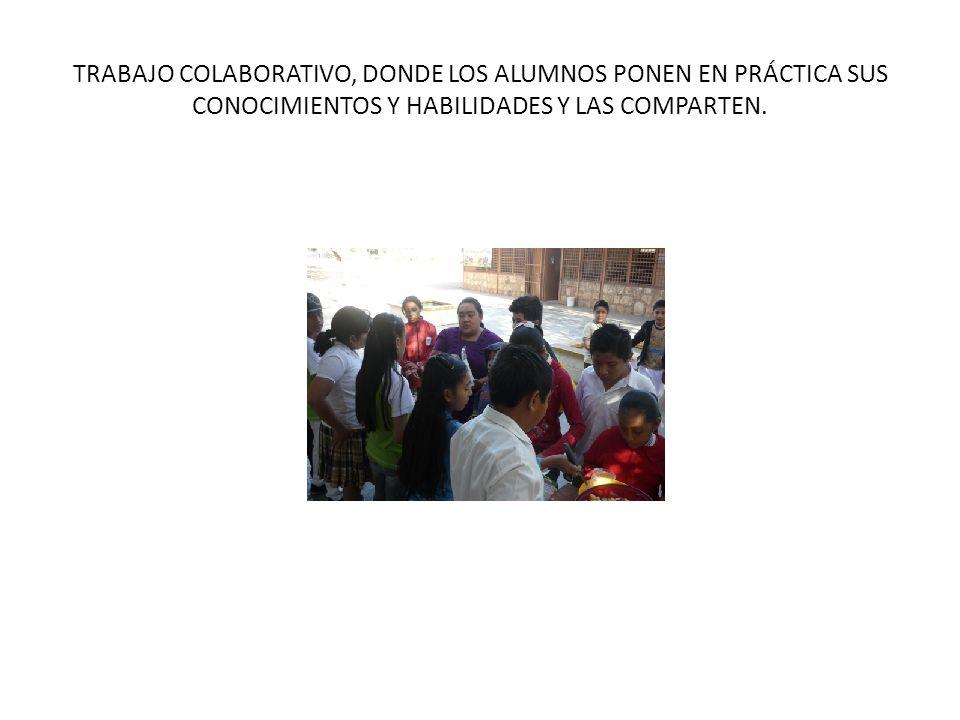 TRABAJO COLABORATIVO, DONDE LOS ALUMNOS PONEN EN PRÁCTICA SUS CONOCIMIENTOS Y HABILIDADES Y LAS COMPARTEN.