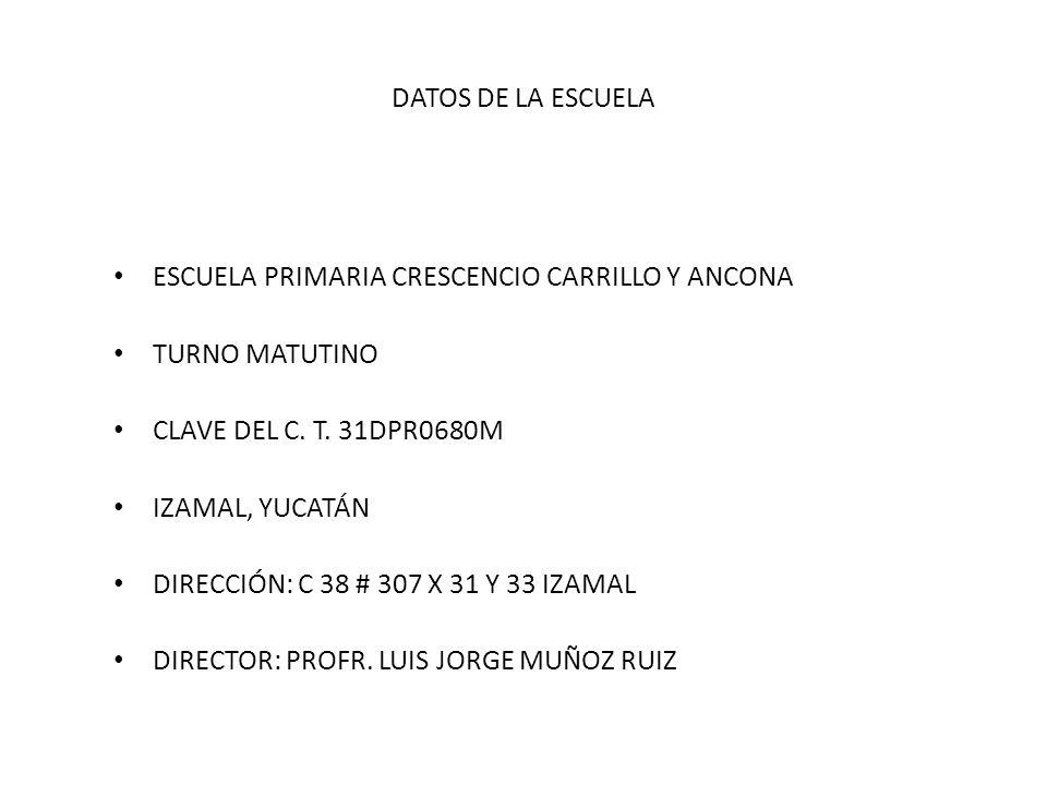 DATOS DE LA ESCUELA ESCUELA PRIMARIA CRESCENCIO CARRILLO Y ANCONA TURNO MATUTINO CLAVE DEL C. T. 31DPR0680M IZAMAL, YUCATÁN DIRECCIÓN: C 38 # 307 X 31