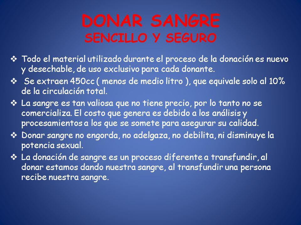 DONAR SANGRE SENCILLO Y SEGURO Todo el material utilizado durante el proceso de la donación es nuevo y desechable, de uso exclusivo para cada donante.