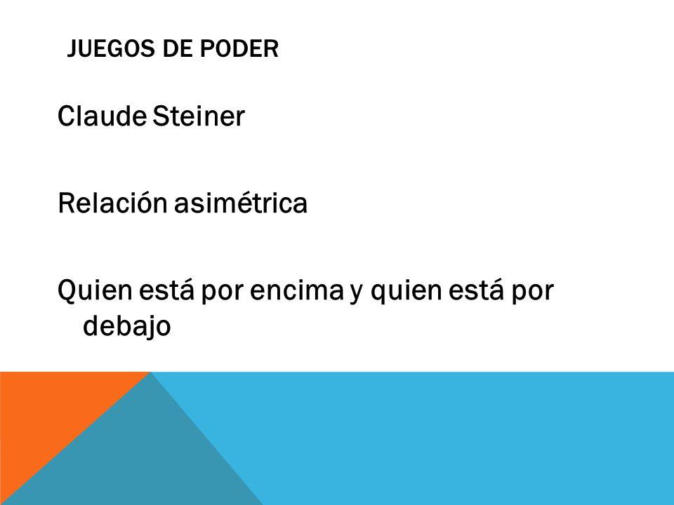JUEGOS DE PODER Claude Steiner Relación asimétrica Quien está por encima y quien está por debajo