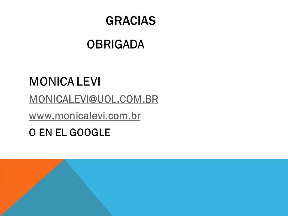 GRACIAS OBRIGADA MONICA LEVI MONICALEVI@UOL.COM.BR www.monicalevi.com.br O EN EL GOOGLE