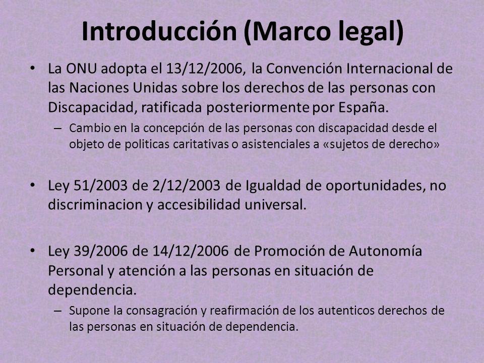 Introducción (Marco legal) La ONU adopta el 13/12/2006, la Convención Internacional de las Naciones Unidas sobre los derechos de las personas con Disc