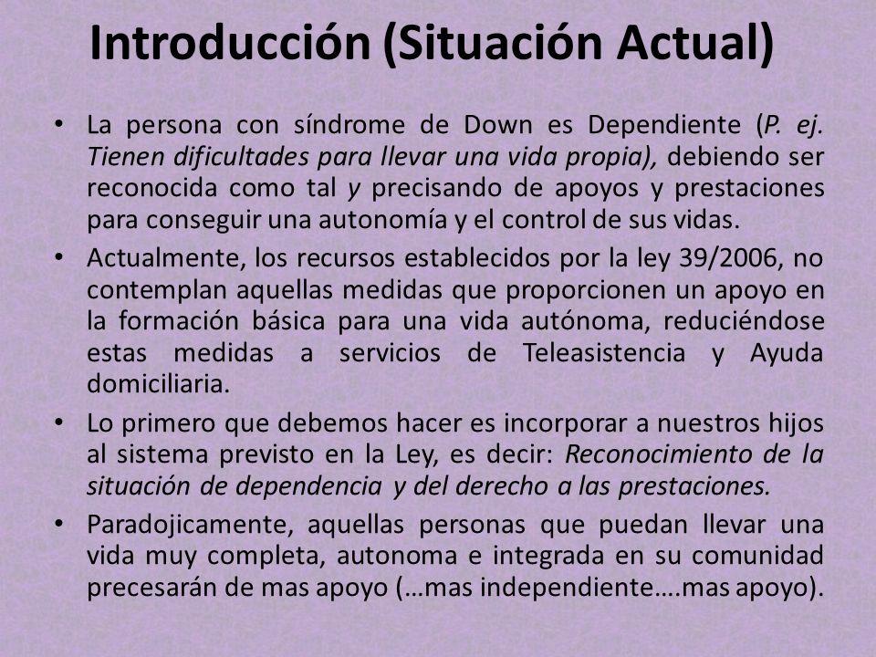 Introducción (Situación Actual) La persona con síndrome de Down es Dependiente (P. ej. Tienen dificultades para llevar una vida propia), debiendo ser