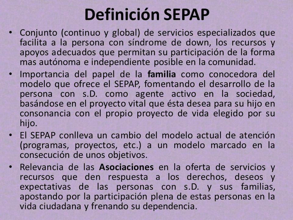 Definición SEPAP Conjunto (continuo y global) de servicios especializados que facilita a la persona con síndrome de down, los recursos y apoyos adecua