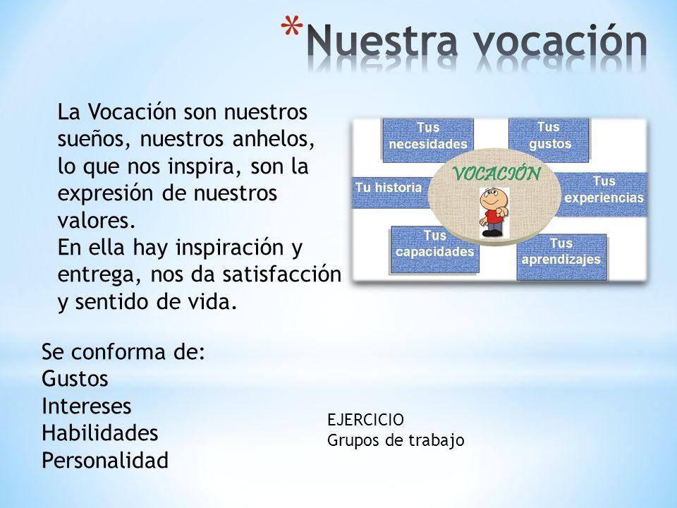 La Vocación son nuestros sueños, nuestros anhelos, lo que nos inspira, son la expresión de nuestros valores. En ella hay inspiración y entrega, nos da