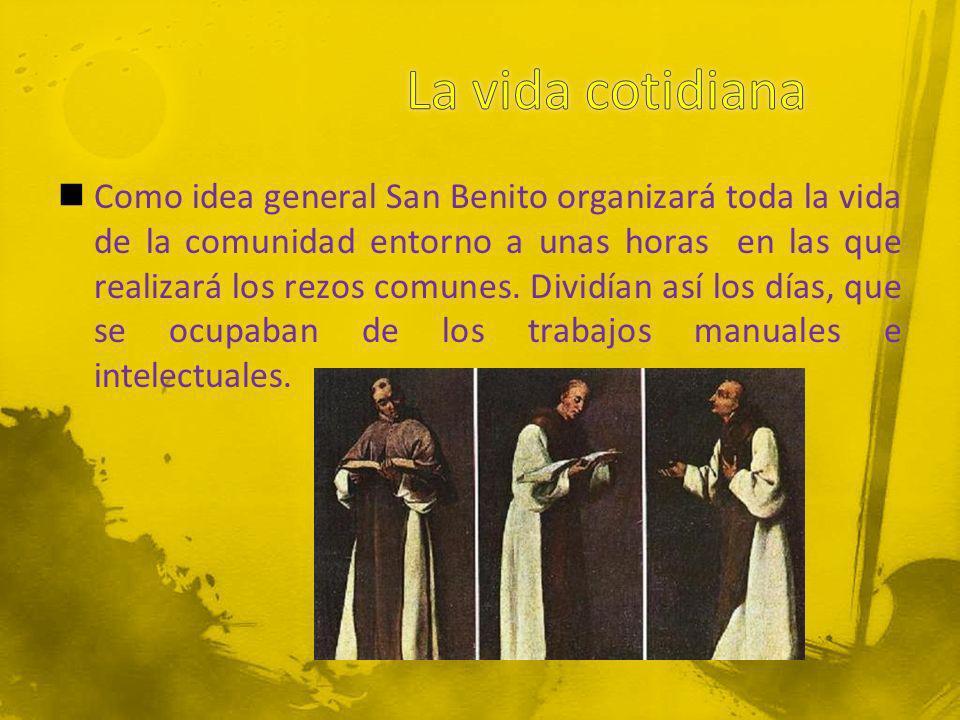 Como idea general San Benito organizará toda la vida de la comunidad entorno a unas horas en las que realizará los rezos comunes. Dividían así los día