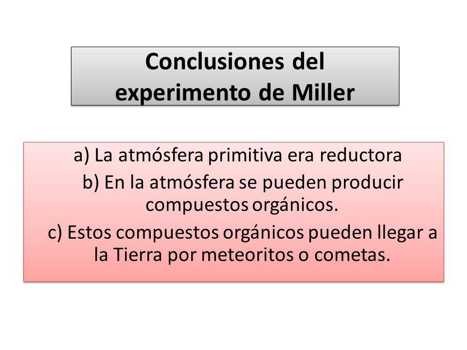 Conclusiones del experimento de Miller a) La atmósfera primitiva era reductora b) En la atmósfera se pueden producir compuestos orgánicos. c) Estos co