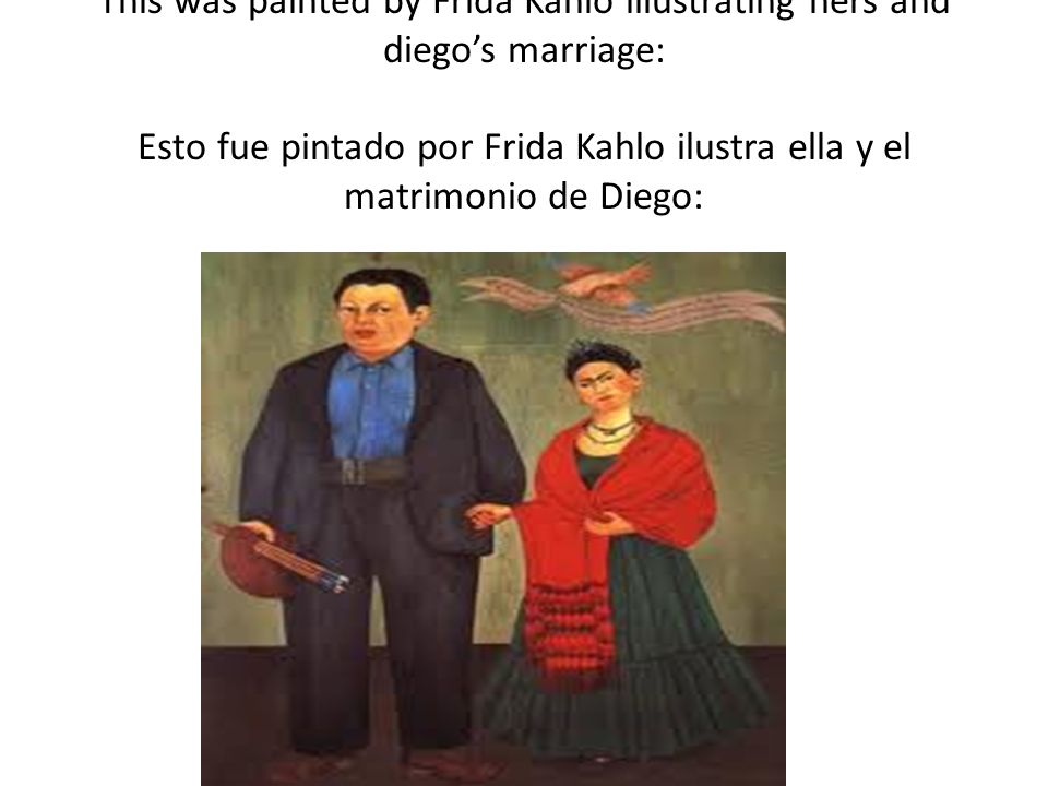 This was painted by Frida Kahlo illustrating hers and diegos marriage: Esto fue pintado por Frida Kahlo ilustra ella y el matrimonio de Diego: