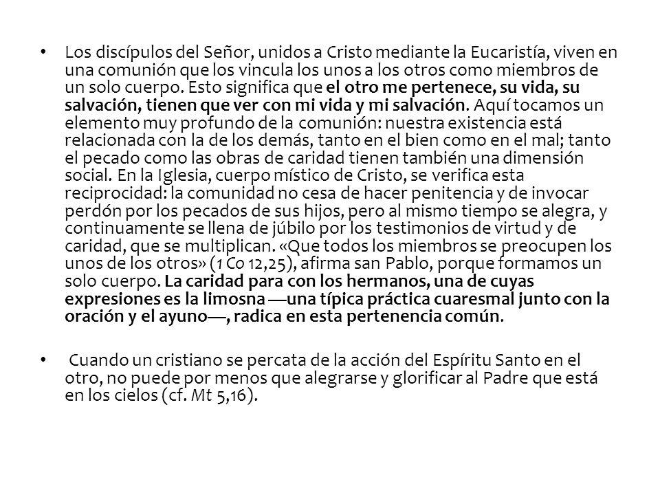 Los discípulos del Señor, unidos a Cristo mediante la Eucaristía, viven en una comunión que los vincula los unos a los otros como miembros de un solo