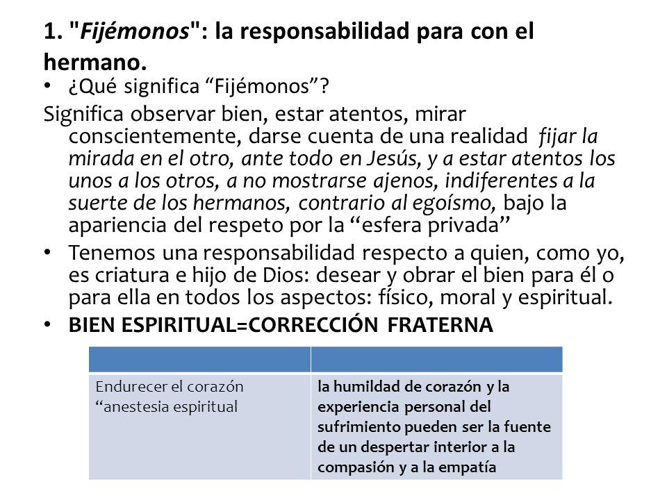 ¿Qué significa Fijémonos? Significa observar bien, estar atentos, mirar conscientemente, darse cuenta de una realidad fijar la mirada en el otro, ante