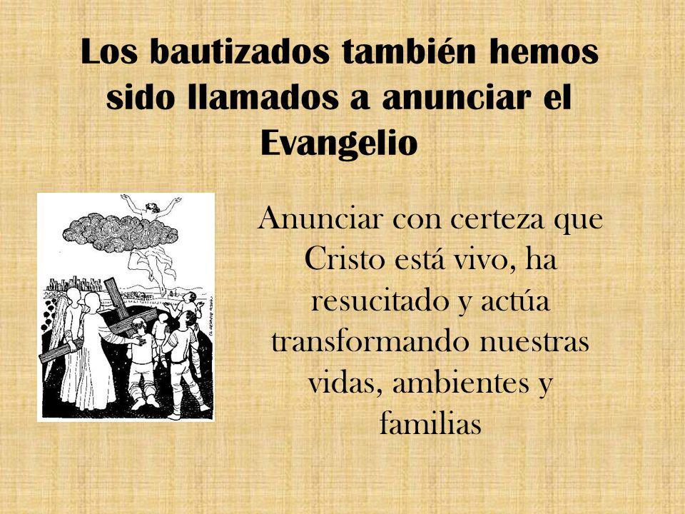 Los bautizados también hemos sido llamados a anunciar el Evangelio Anunciar con certeza que Cristo está vivo, ha resucitado y actúa transformando nues