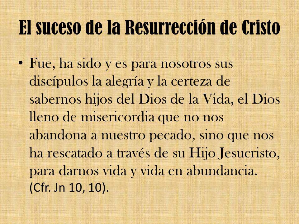 El suceso de la Resurrección de Cristo Fue, ha sido y es para nosotros sus discípulos la alegría y la certeza de sabernos hijos del Dios de la Vida, e