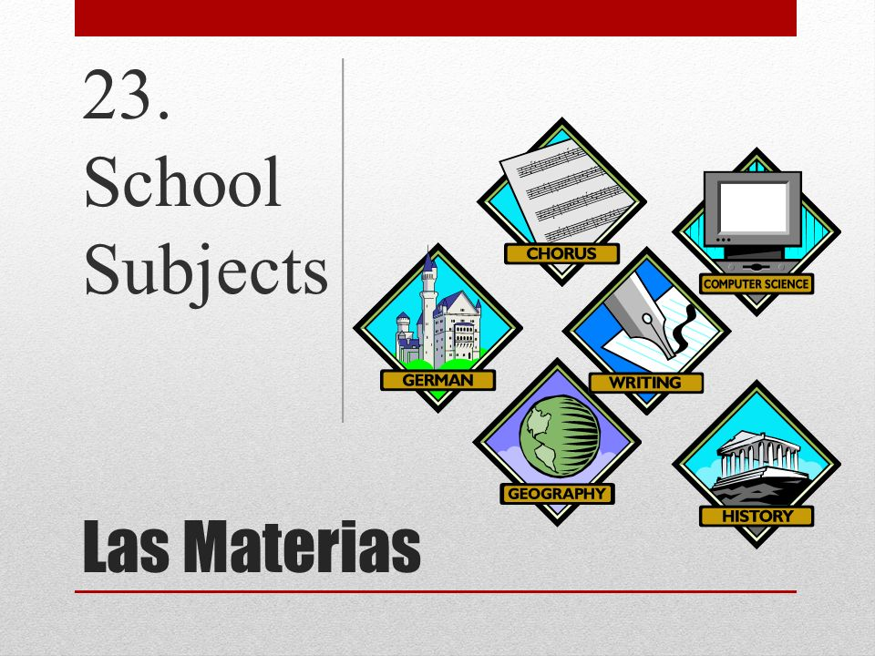 Las Materias 23. School Subjects