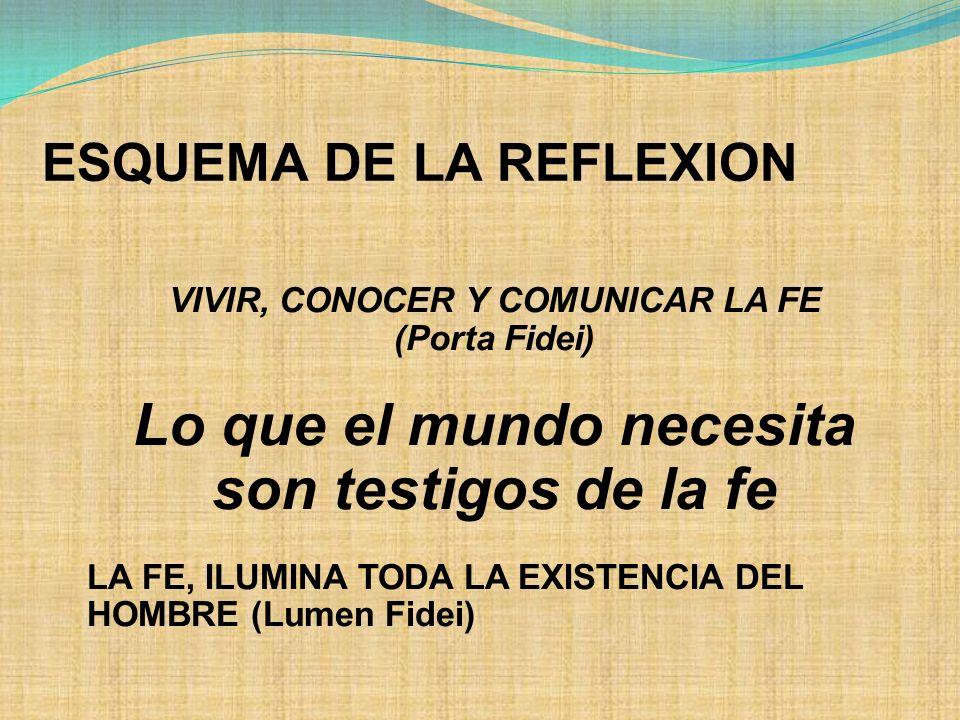 ESQUEMA DE LA REFLEXION VIVIR, CONOCER Y COMUNICAR LA FE (Porta Fidei) Lo que el mundo necesita son testigos de la fe LA FE, ILUMINA TODA LA EXISTENCIA DEL HOMBRE (Lumen Fidei)