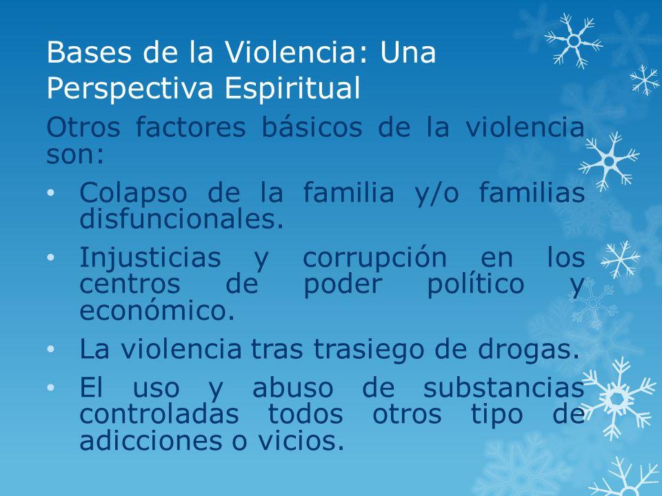 Bases de la Violencia: Una Perspectiva Espiritual Otros factores básicos de la violencia son: Colapso de la familia y/o familias disfuncionales. Injus