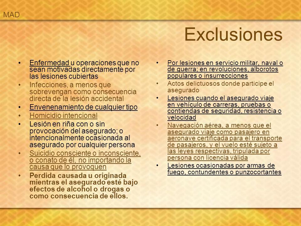 Exclusiones Enfermedad u operaciones que no sean motivadas directamente por las lesiones cubiertas Infecciones, a menos que sobrevengan como consecuen