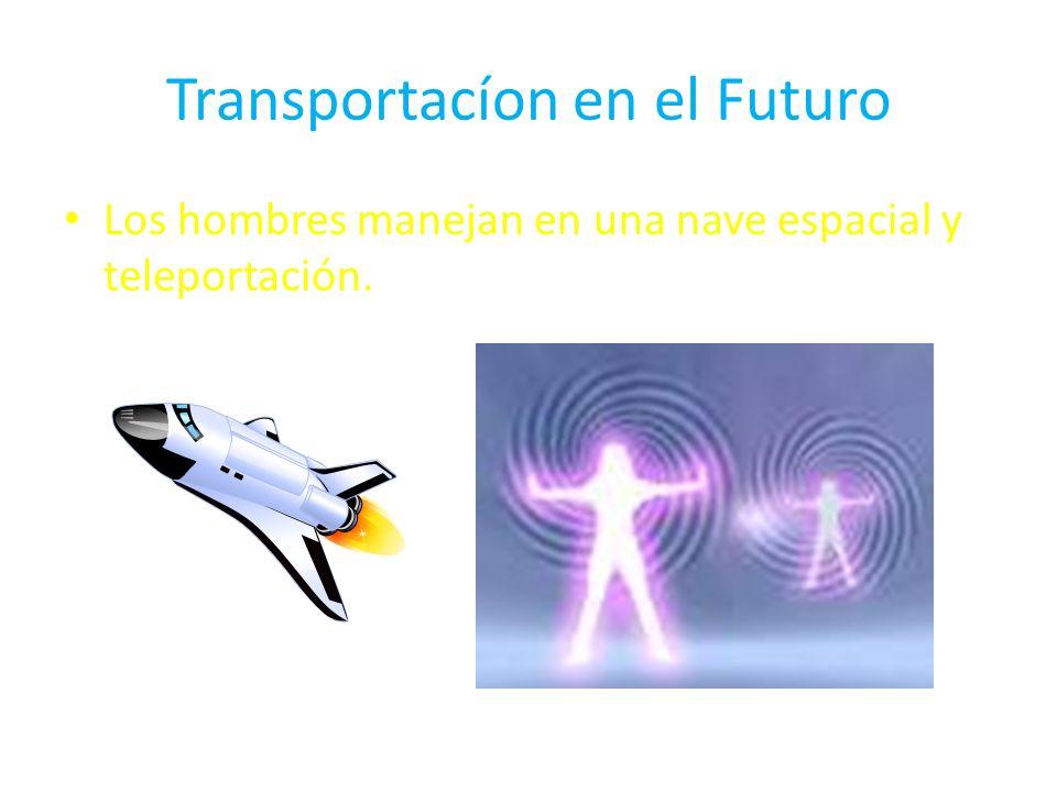 Transportacíon en el Futuro Los hombres manejan en una nave espacial y teleportación.