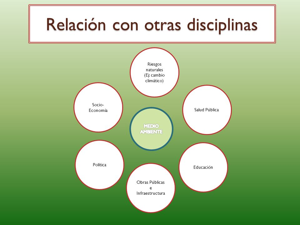 Relación con otras disciplinas Riesgos naturales (Ej: cambio climático) Salud Pública Educación Socio- Economía Política Obras Públicas e Infraestructura