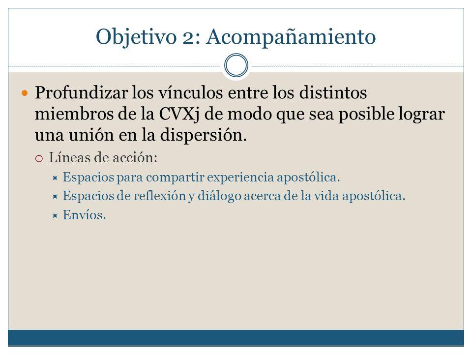 Objetivo 2: Acompañamiento Profundizar los vínculos entre los distintos miembros de la CVXj de modo que sea posible lograr una unión en la dispersión.
