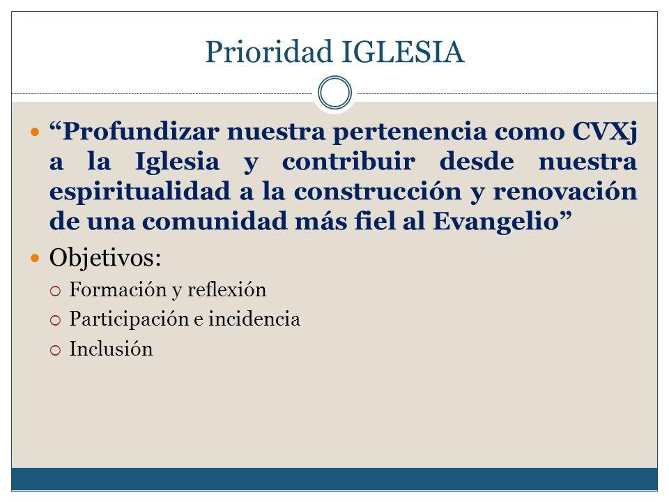 Prioridad IGLESIA Profundizar nuestra pertenencia como CVXj a la Iglesia y contribuir desde nuestra espiritualidad a la construcción y renovación de u