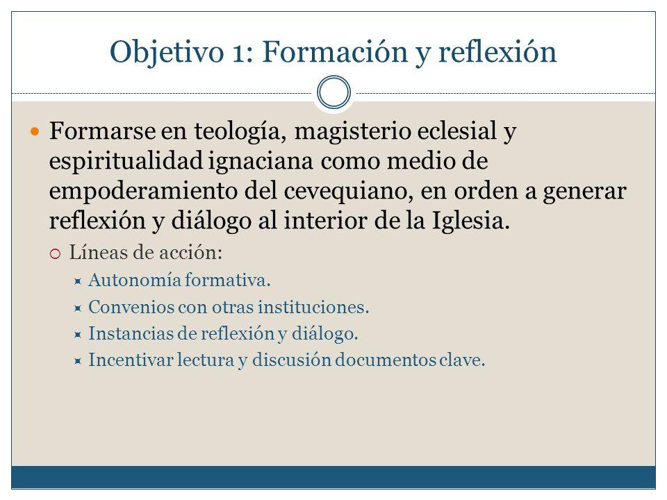 Objetivo 1: Formación y reflexión Formarse en teología, magisterio eclesial y espiritualidad ignaciana como medio de empoderamiento del cevequiano, en