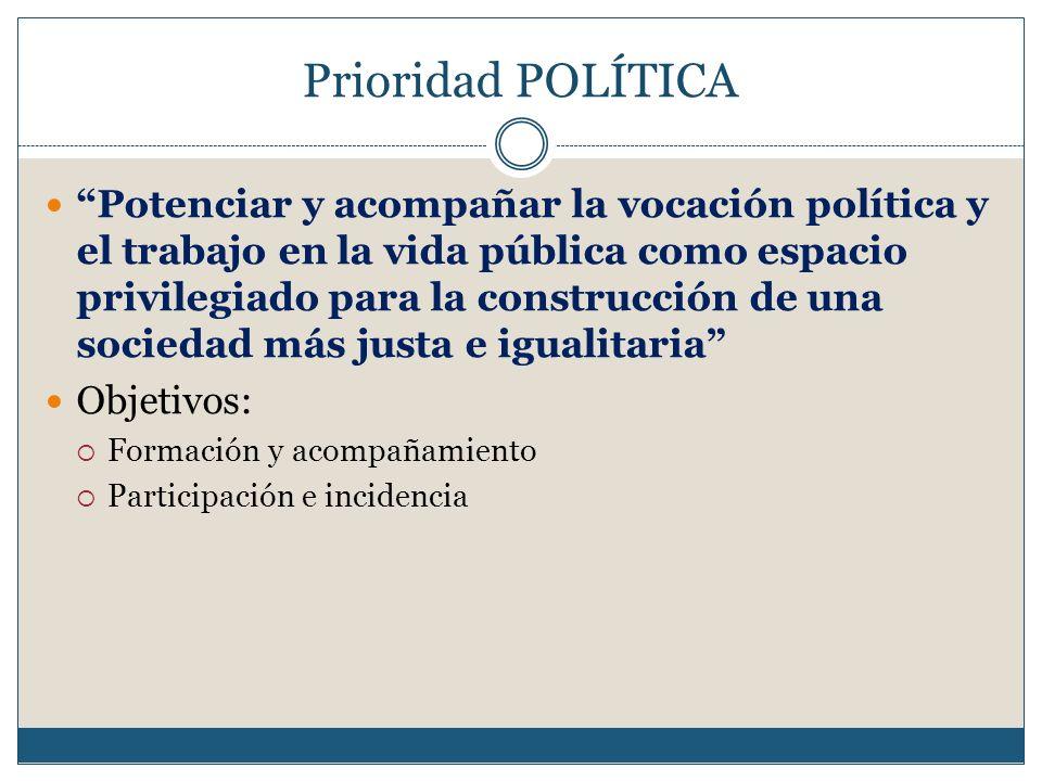 Prioridad POLÍTICA Potenciar y acompañar la vocación política y el trabajo en la vida pública como espacio privilegiado para la construcción de una so