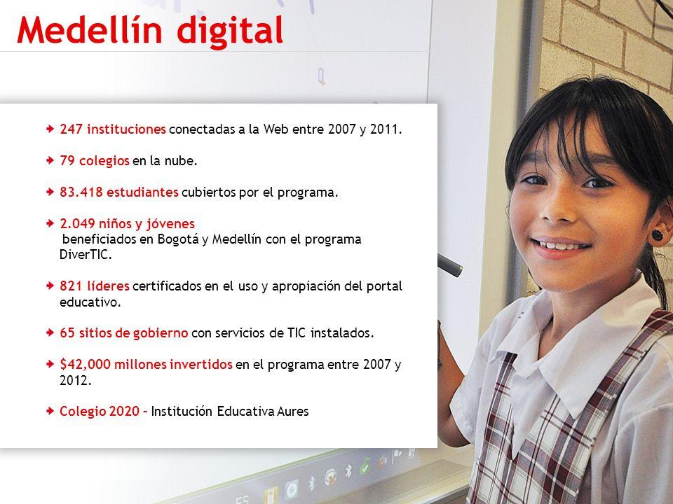 247 instituciones conectadas a la Web entre 2007 y 2011. 79 colegios en la nube. 83.418 estudiantes cubiertos por el programa. 2.049 niños y jóvenes b
