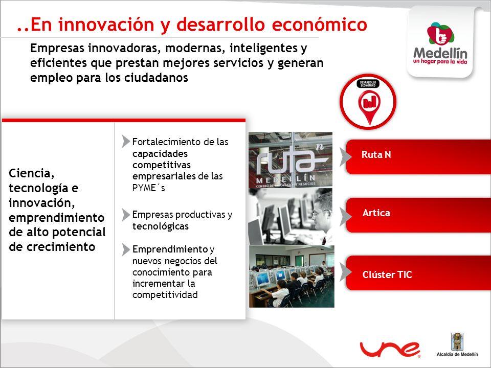..En innovación y desarrollo económico Empresas innovadoras, modernas, inteligentes y eficientes que prestan mejores servicios y generan empleo para l