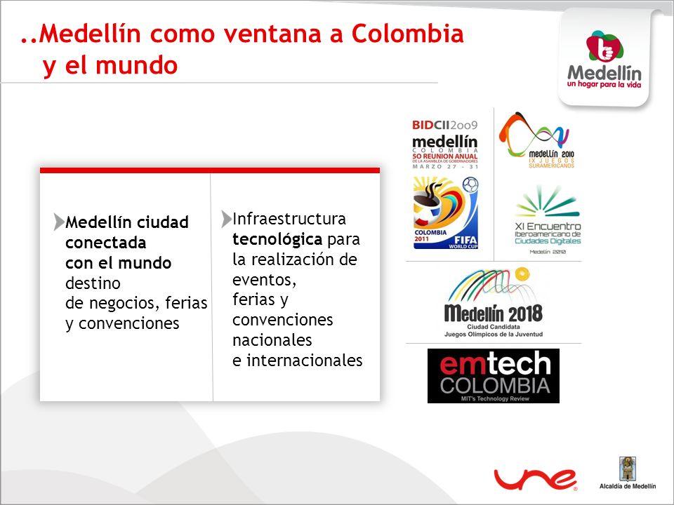 ..Medellín como ventana a Colombia y el mundo Infraestructura tecnológica para la realización de eventos, ferias y convenciones nacionales e internaci