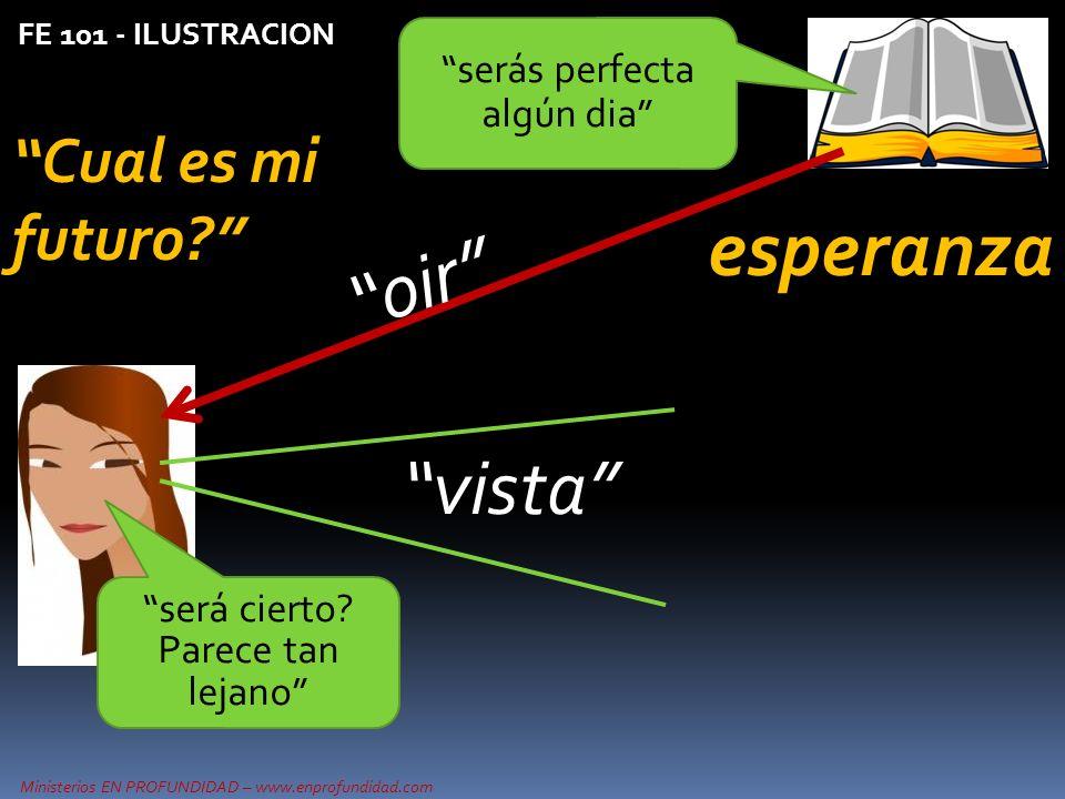 Ministerios EN PROFUNDIDAD – www.enprofundidad.com FE 101 - ILUSTRACION Cual es mi futuro? serás perfecta algún dia vista oir será cierto? Parece tan