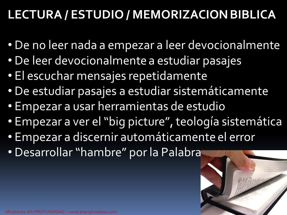 Ministerios EN PROFUNDIDAD – www.enprofundidad.com LECTURA / ESTUDIO / MEMORIZACION BIBLICA De no leer nada a empezar a leer devocionalmente De leer d