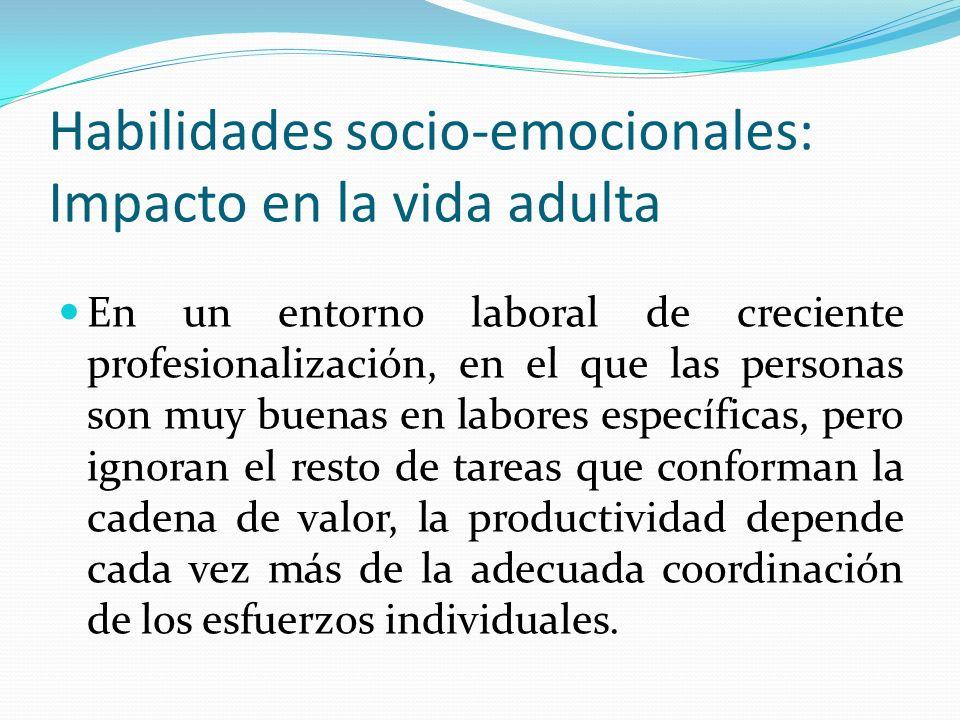 Habilidades socio-emocionales: Impacto en la vida adulta En un entorno laboral de creciente profesionalización, en el que las personas son muy buenas