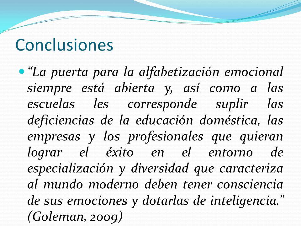 Conclusiones La puerta para la alfabetización emocional siempre está abierta y, así como a las escuelas les corresponde suplir las deficiencias de la