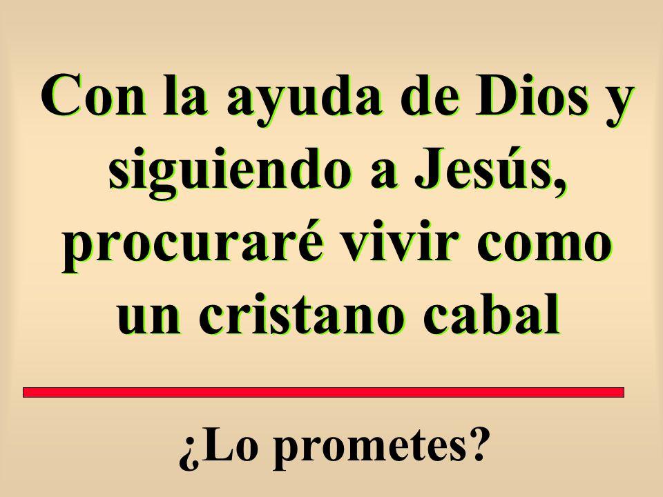 Con la ayuda de Dios y siguiendo a Jesús, procuraré vivir como un cristano cabal ¿Lo prometes?