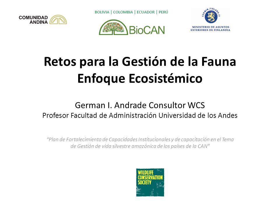 Retos para la Gestión de la Fauna Enfoque Ecosistémico German I. Andrade Consultor WCS Profesor Facultad de Administración Universidad de los Andes Pl