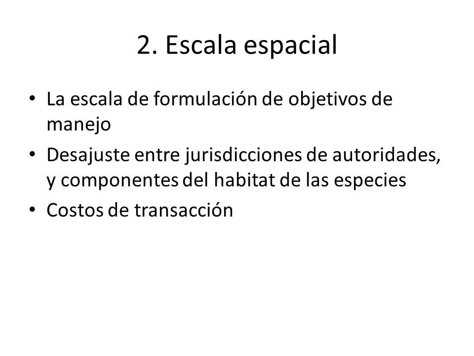 2. Escala espacial La escala de formulación de objetivos de manejo Desajuste entre jurisdicciones de autoridades, y componentes del habitat de las esp