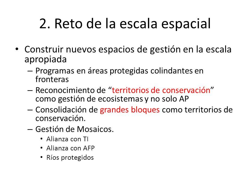 2. Reto de la escala espacial Construir nuevos espacios de gestión en la escala apropiada – Programas en áreas protegidas colindantes en fronteras – R
