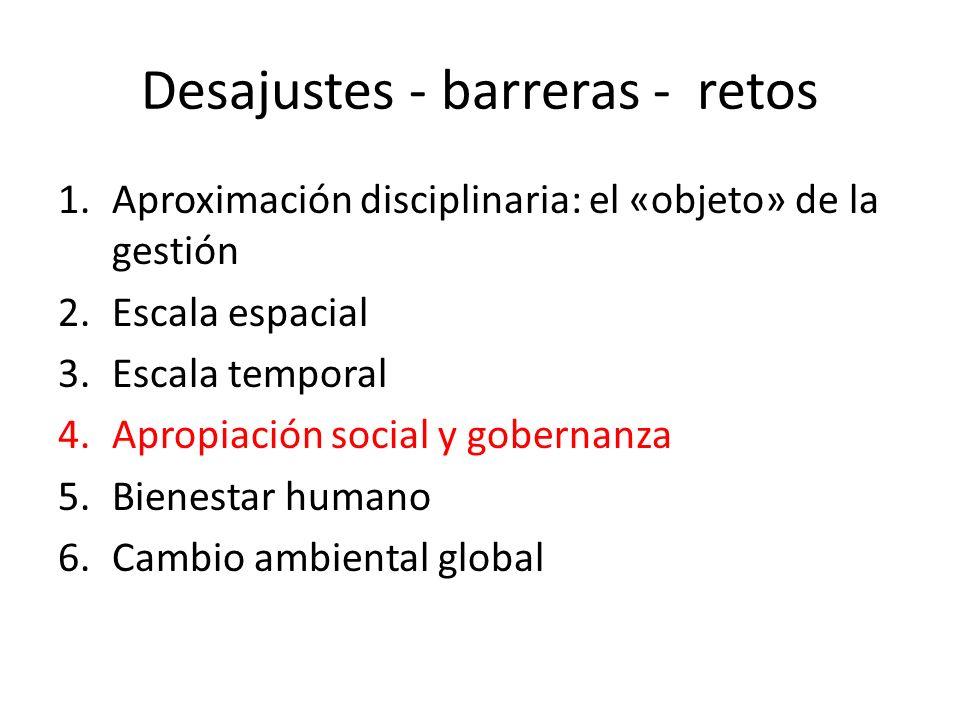 Desajustes - barreras - retos 1.Aproximación disciplinaria: el «objeto» de la gestión 2.Escala espacial 3.Escala temporal 4.Apropiación social y gober