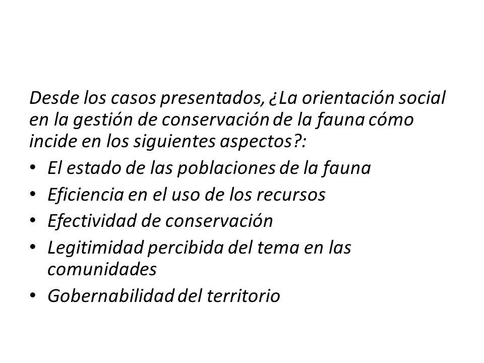 Desde los casos presentados, ¿La orientación social en la gestión de conservación de la fauna cómo incide en los siguientes aspectos?: El estado de la